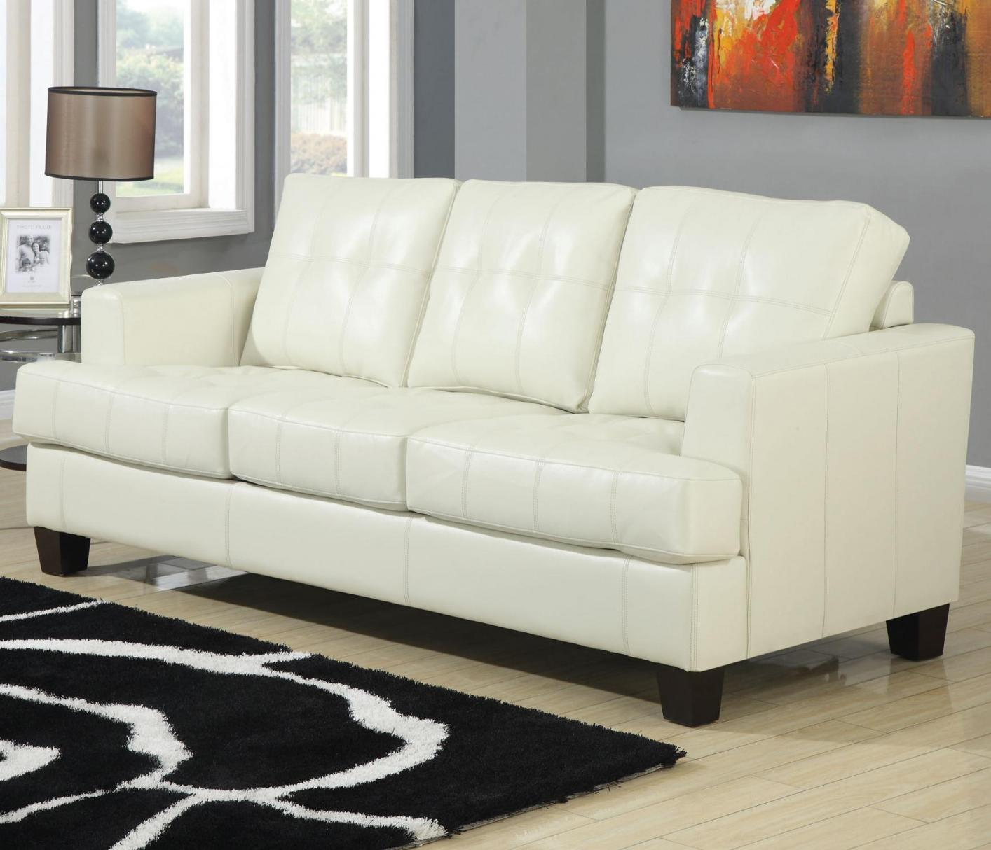 Samuel Beige Leather Sofa Bed  StealASofa Furniture Outlet Los Angeles CA