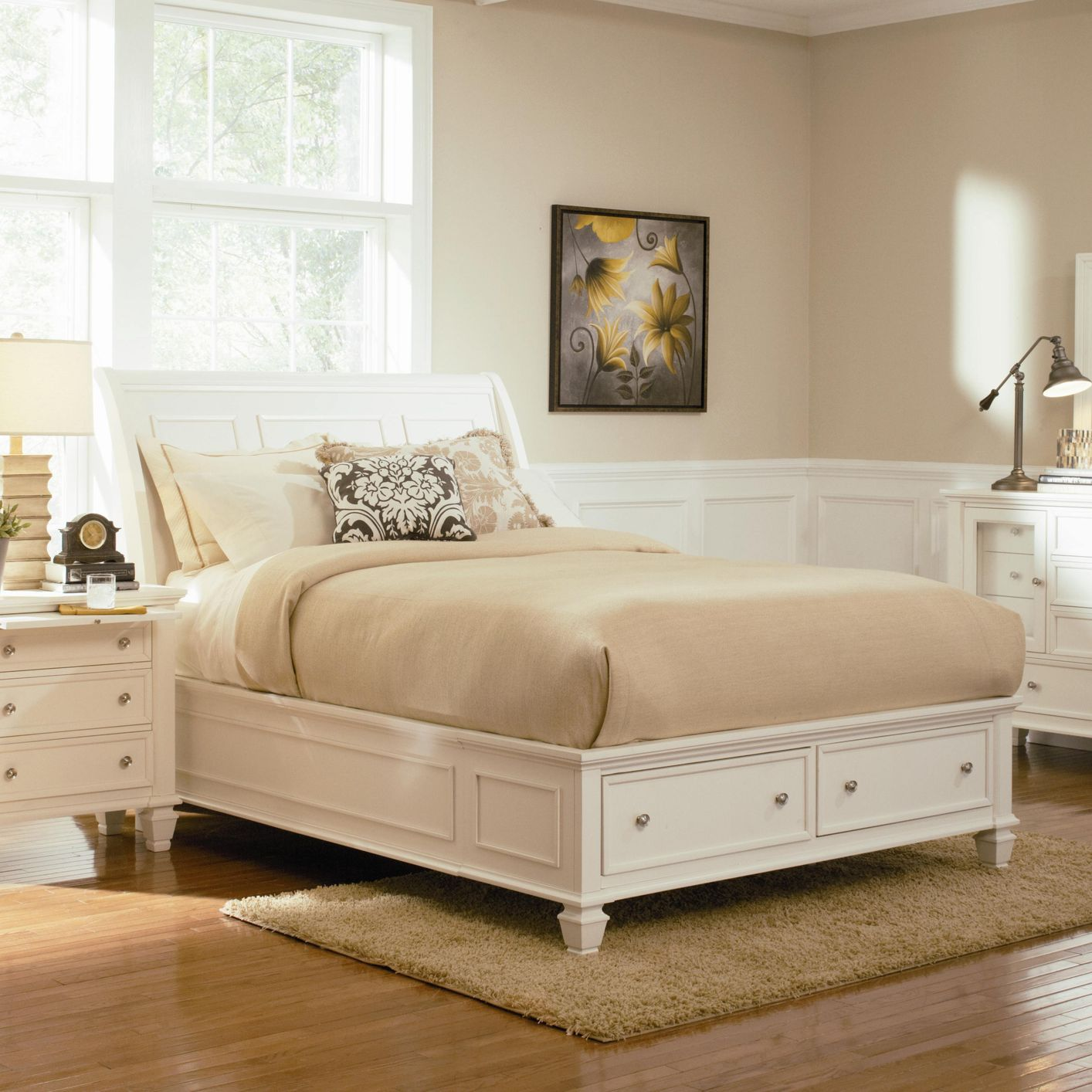 White Wood Queen Size Bed  StealASofa Furniture Outlet