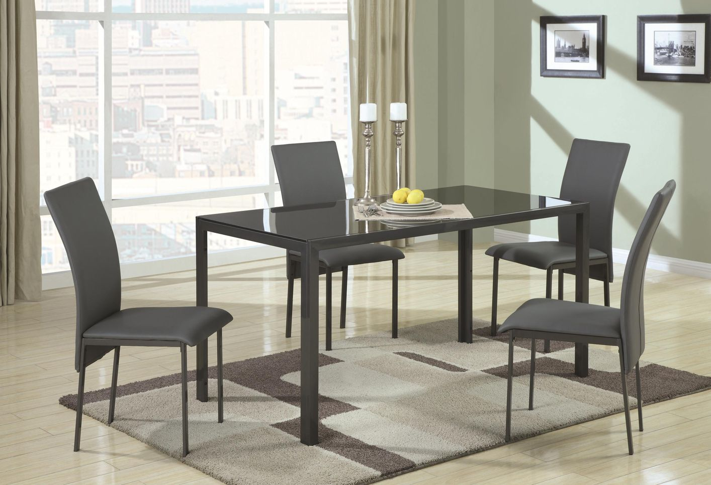 metal kitchen table sets side sprayer shelby black and glass dining set steal a sofa