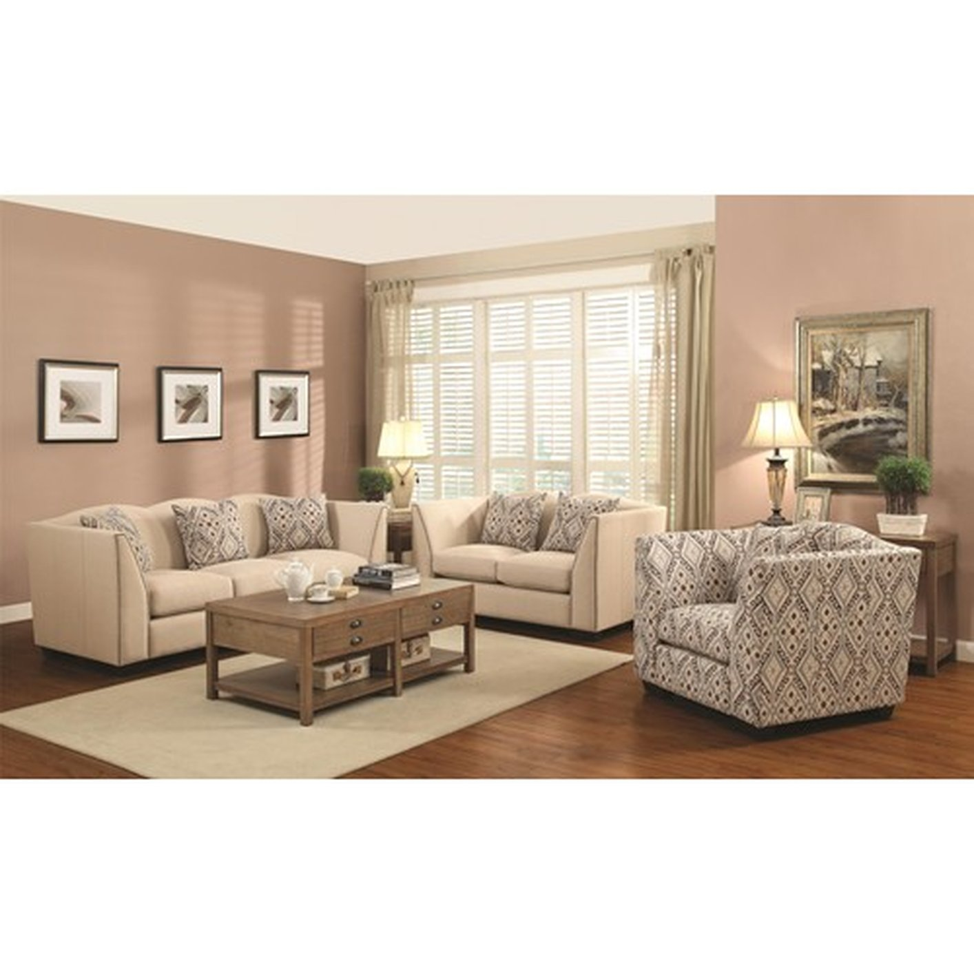 Sofa And Accent Chair Set Beige Fabric Modern Sofa Accent
