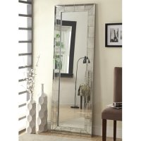 Silver Glass Floor Mirror - Steal-A-Sofa Furniture Outlet ...