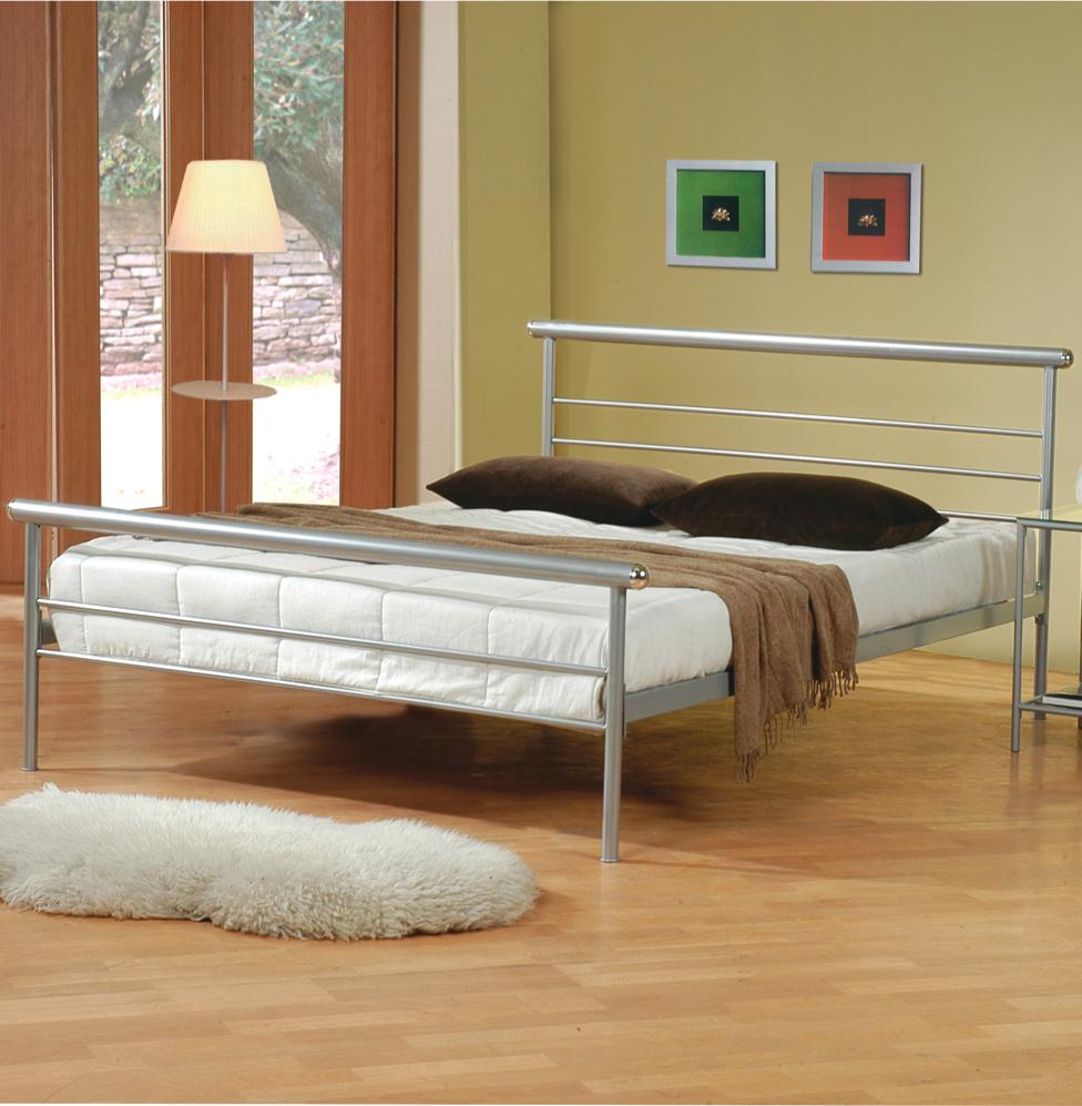 Silver Metal Bed