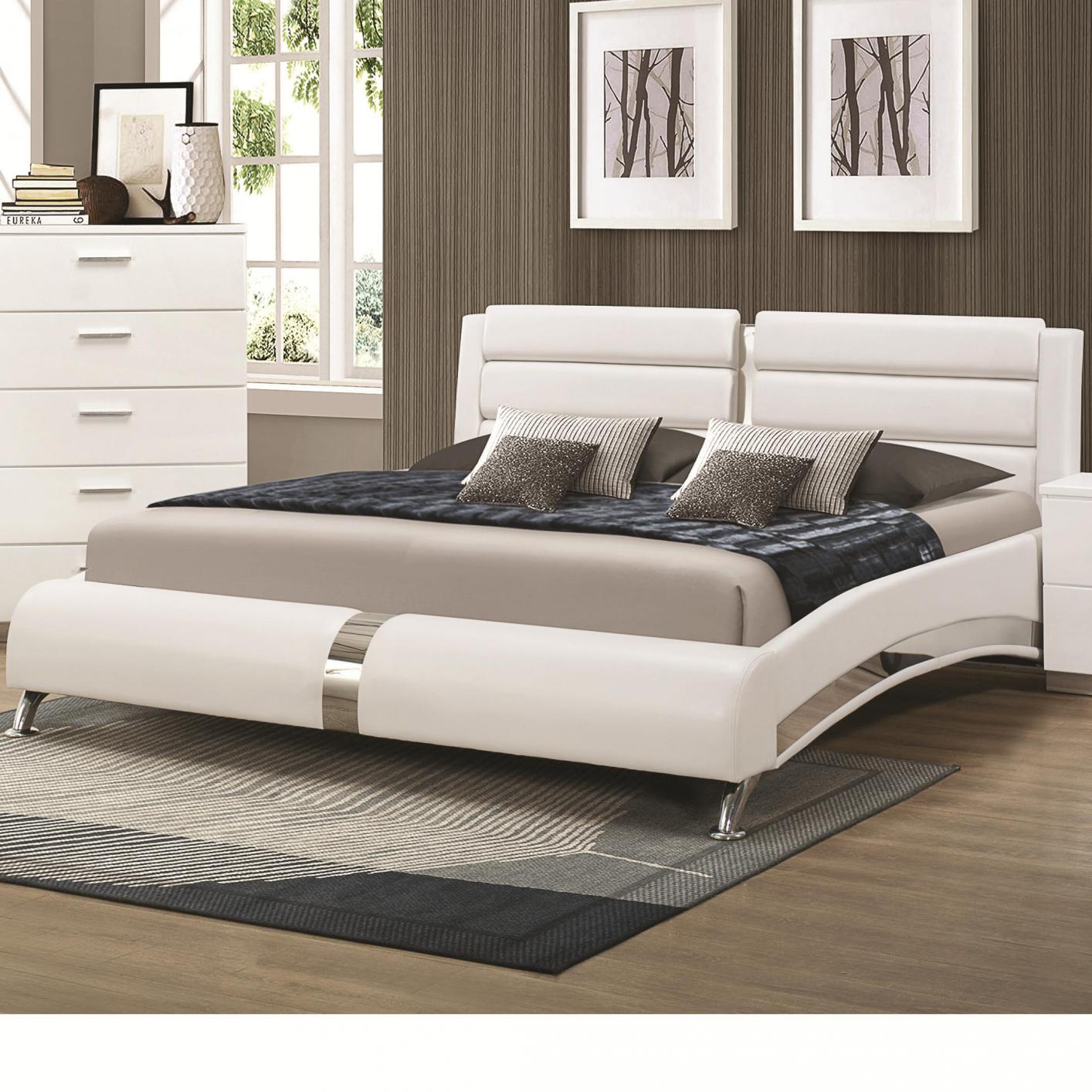White Wood California King Size Bed