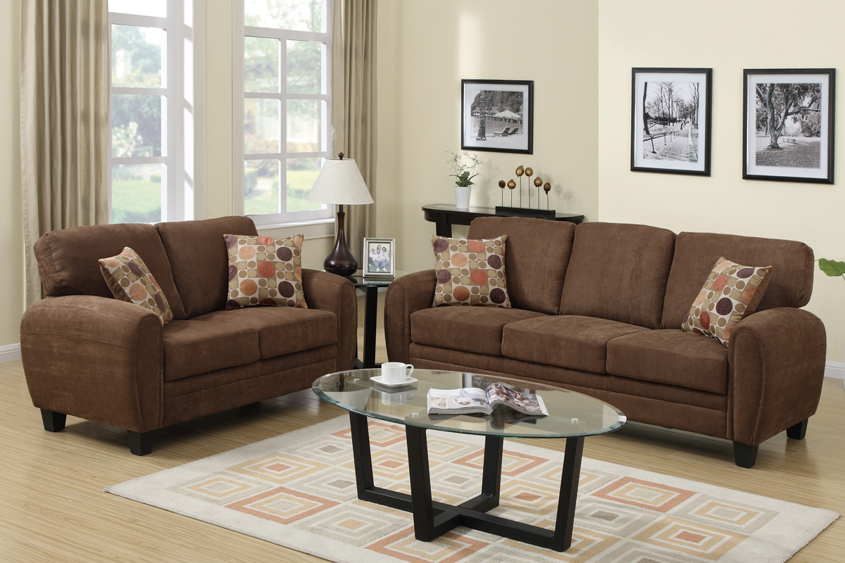 brown fabric sofa best sleeper sofas chicago and loveseat set steal a