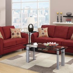 Red Fabric Sofa Leather Tufted Sectional And Loveseat Set Steal A Furniture