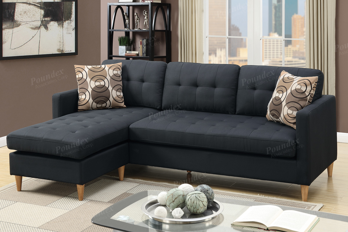 Black Fabric Sectional Sofa  StealASofa Furniture