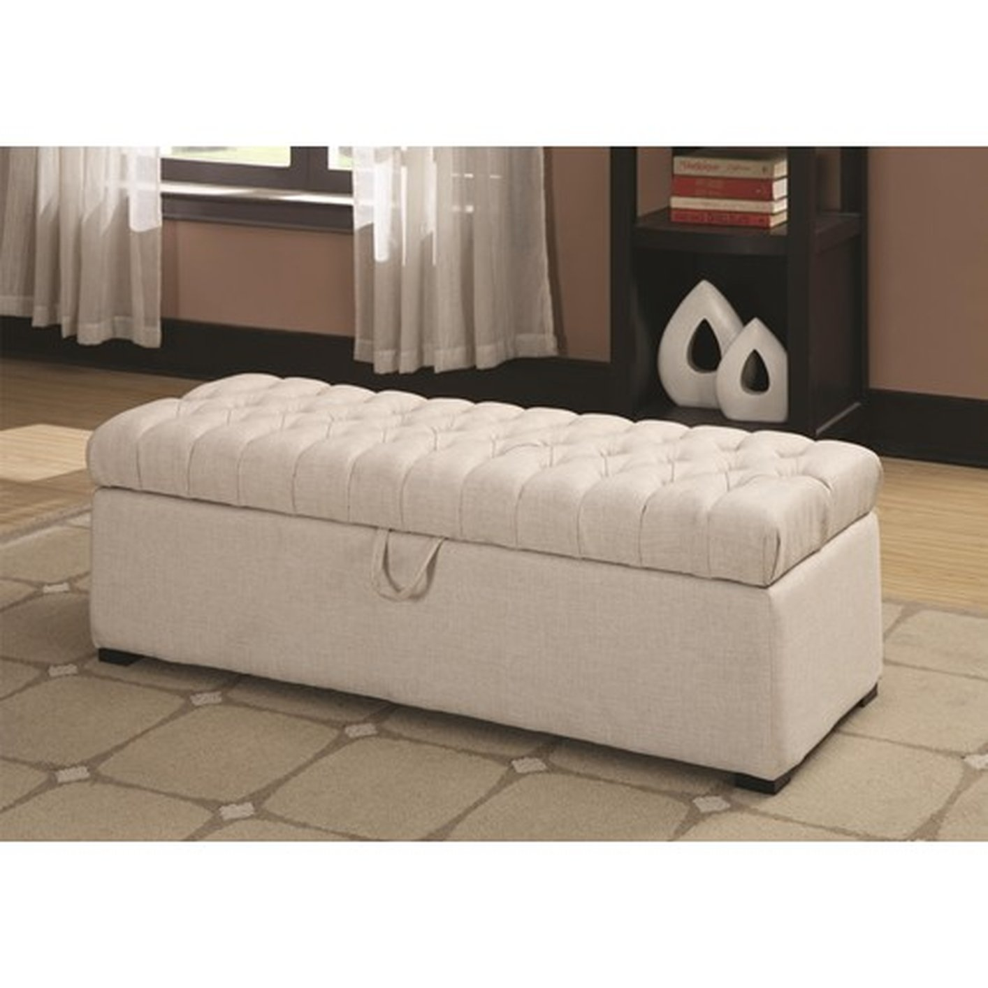 White Fabric Storage Bench  StealASofa Furniture Outlet