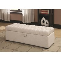 White Fabric Storage Bench - Steal-A-Sofa Furniture Outlet ...