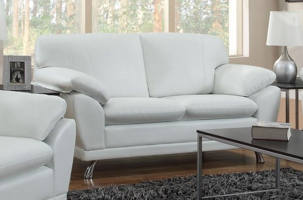 White Leather Sofas and Loveseats