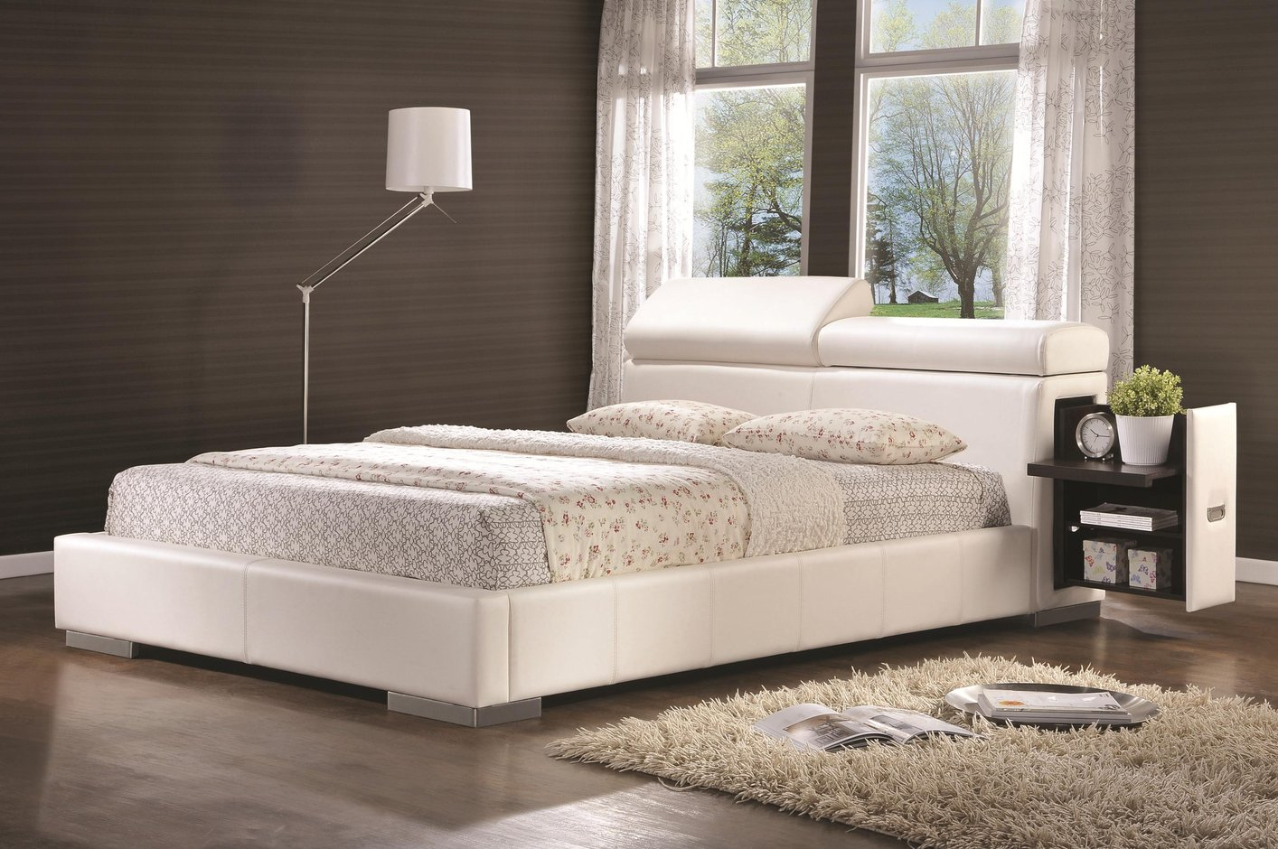 Coaster 300379q White Queen Size Leather Bed  StealASofa Furniture Outlet Los Angeles CA