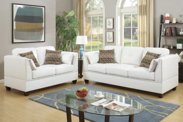 White Leather Sofa and Loveseat Sets