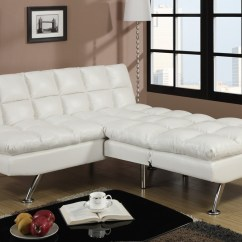 White Twin Sofa Bed With Loose Back Pillows Poundex F7015 Size Leather Steal A