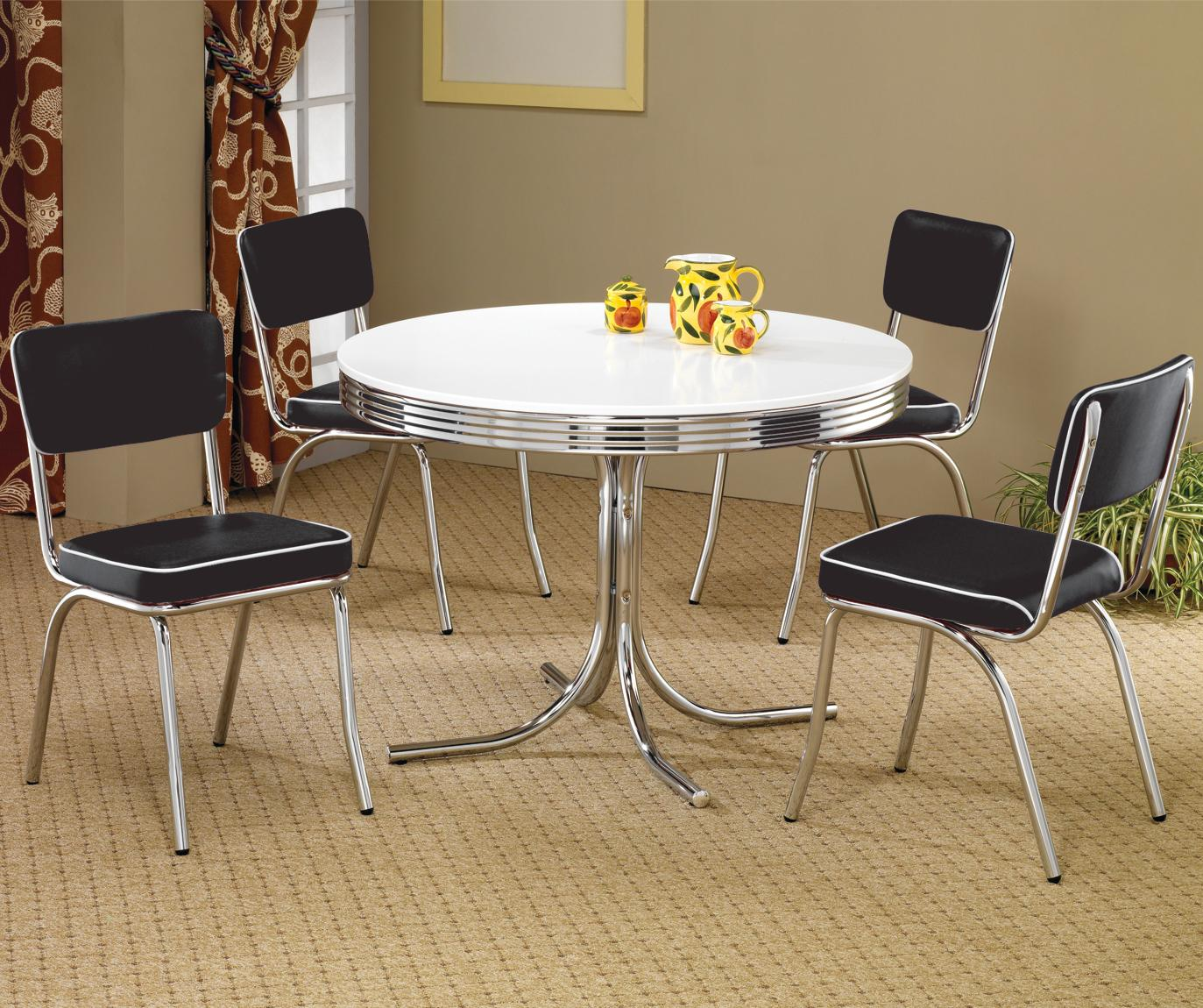 White Metal Dining Table  StealASofa Furniture Outlet