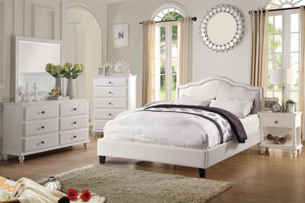 White Wood Queen Size Bed - Steal-sofa Furniture Outlet