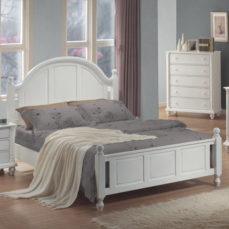 White Wood Full Size Bed  StealASofa Furniture Outlet