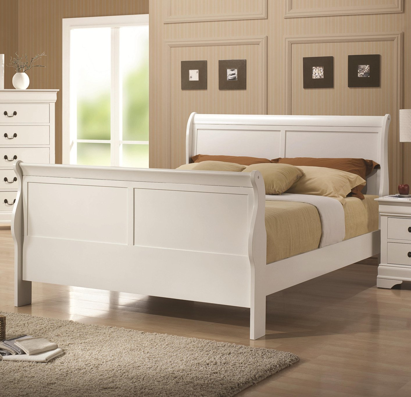 White Wood Twin Size Bed  StealASofa Furniture Outlet