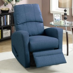 Blue Fabric Recliner Sofa Table Decorating Swivel Steal A Furniture