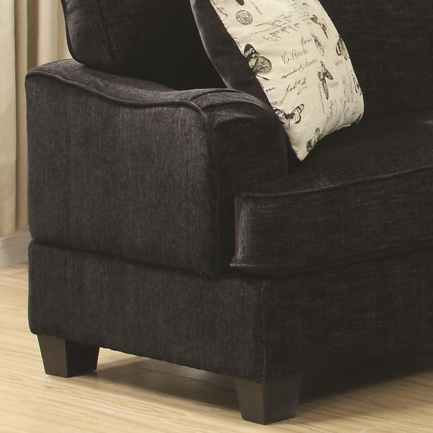black fabric sofa chair snuggle yasmine steal a furniture outlet