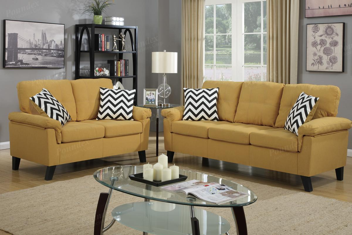 Yellow Fabric Sofa And Loveseat Set Steal A Sofa