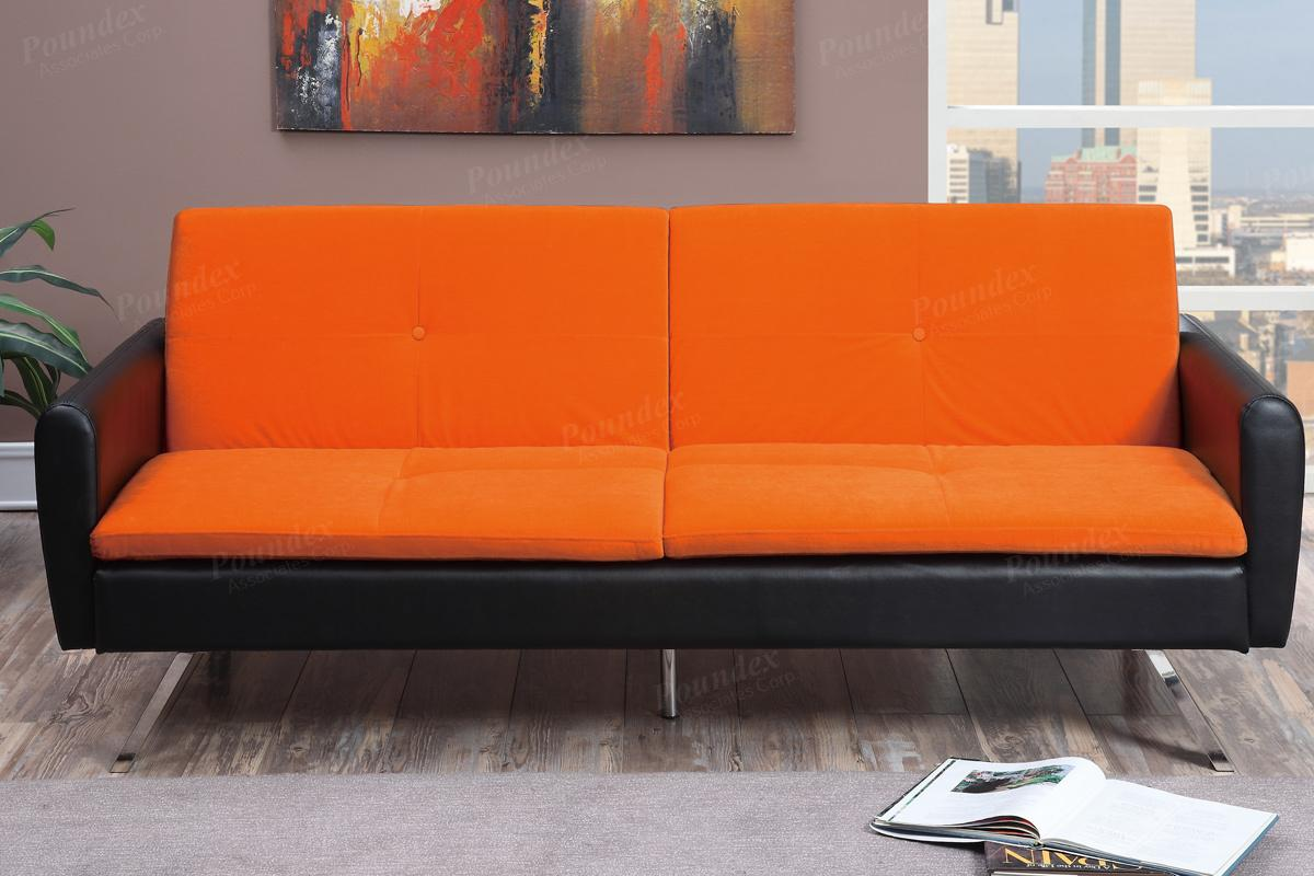 orange and black sofa bed square arm uk leather steal a furniture outlet los angeles ca