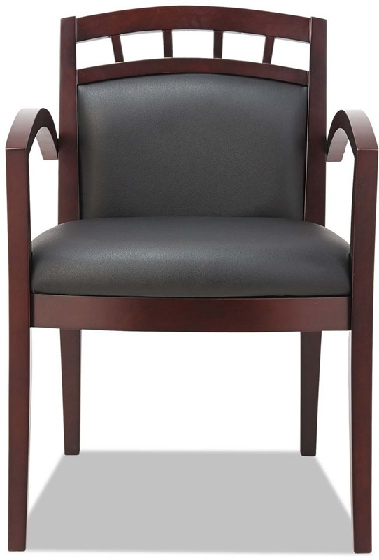 black leather reception chairs aqua dining chair cushions alerl5119m fs nat alera lounge 500 series arch back cut out mahogany wood frame arm
