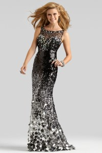 Clarisse 2014 Black SIlver Boat Neck Sheer Sequin Open ...