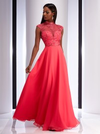 Watermelon Color Prom Dress