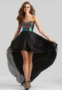 Clarisse 2014 Black Multi Strapless Sweetheart High Low ...