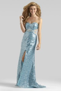 Clarisse 2014 Blue Silver Sequin Strapless Open Back Prom ...