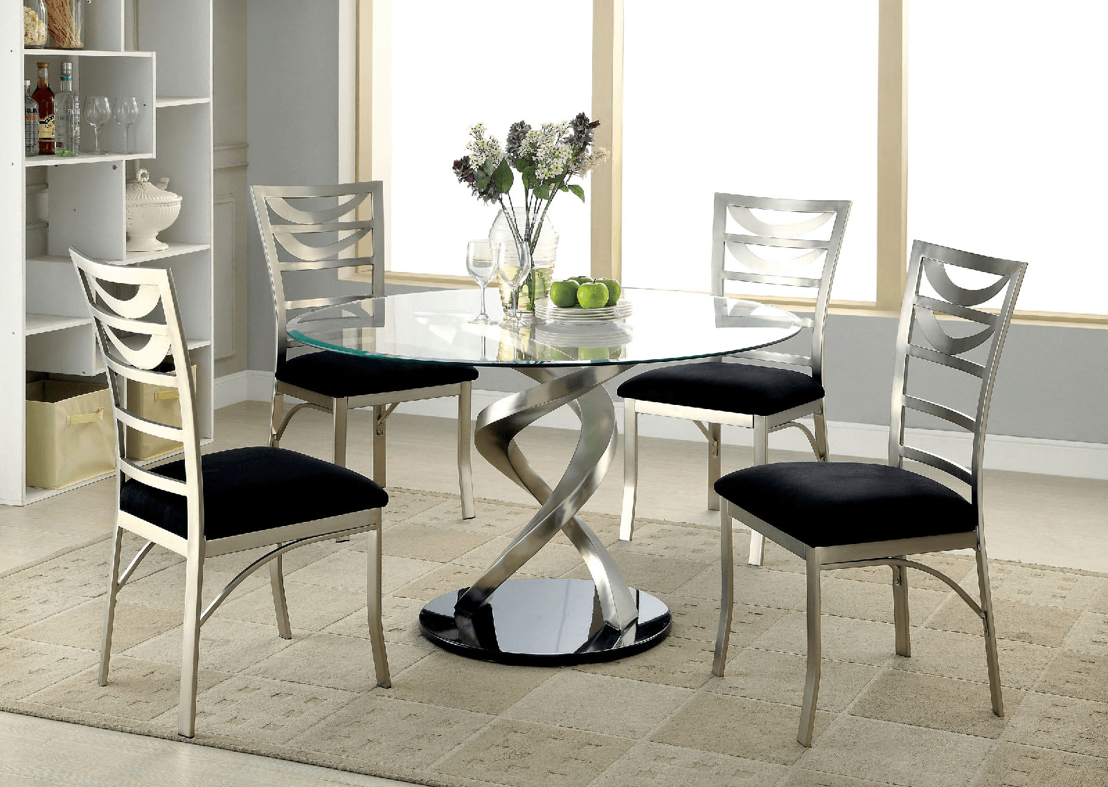 glass kitchen tables faucets amazon roxo round dining table by furniture of america