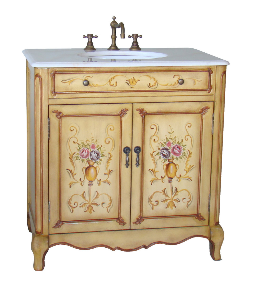 Painted Bathroom Vanity 32 Inch Bathroom Vanity Hand Painted Floral Design Beige