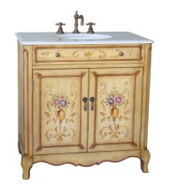 32 inch Bathroom Vanity Hand Painted Floral Design Beige ...