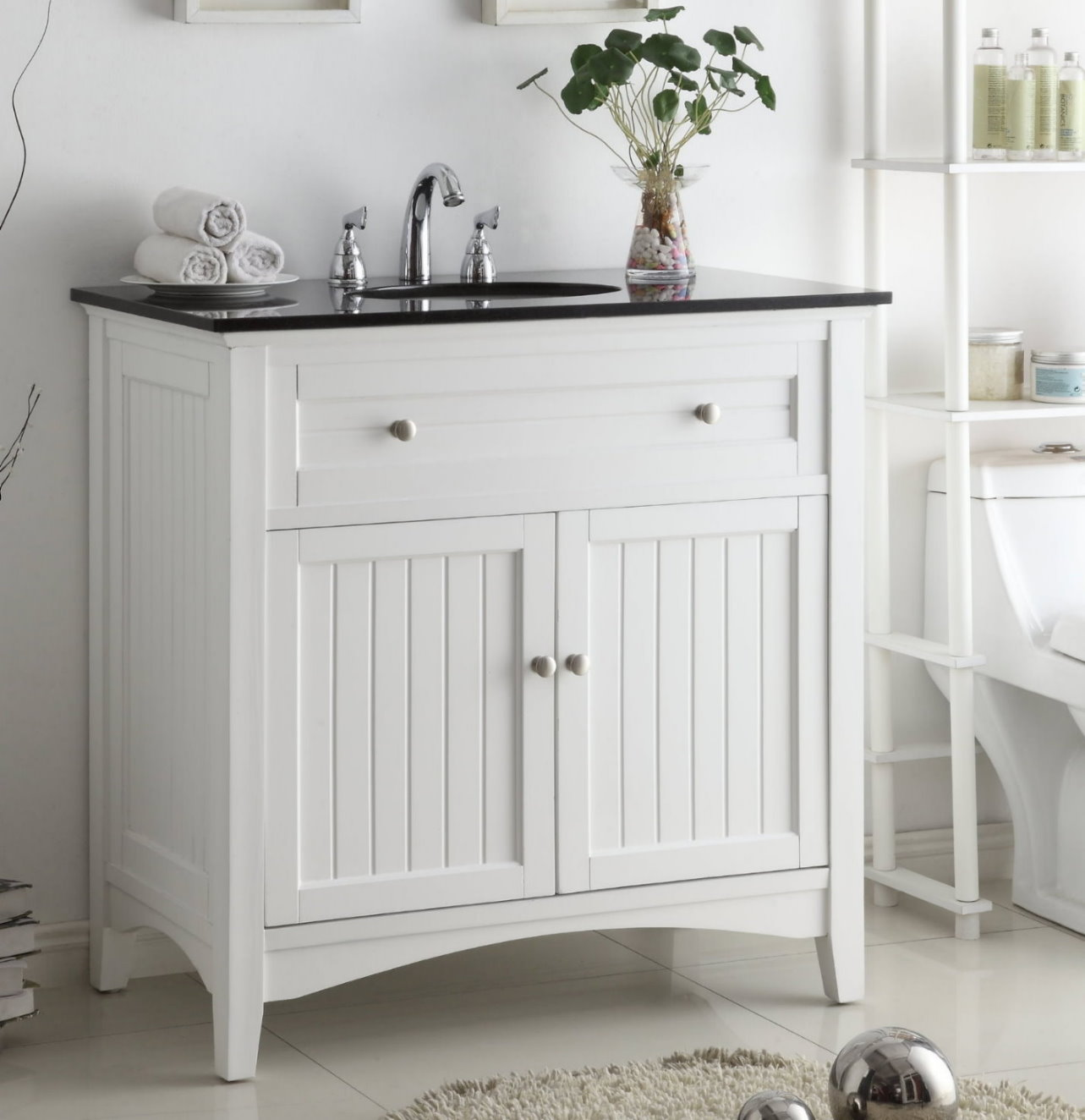37 Inch Bathroom Vanity Cottage Beach Style Beadboard White Color 37 Wx21 Dx37 H Ccf47531