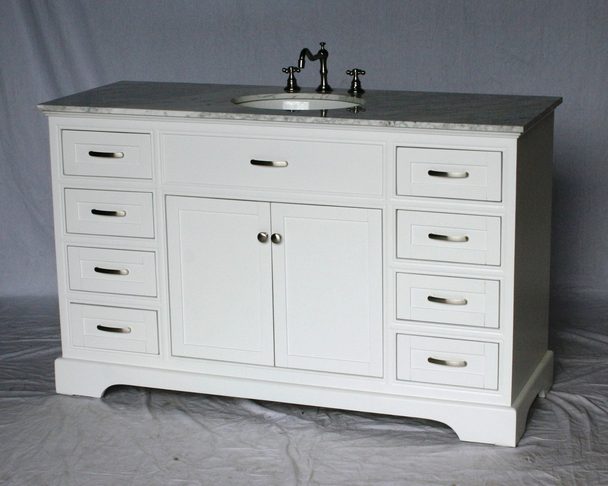 56 Inch Single Sink Bathroom Vanity Shaker Style White Color 56 Wx21 Dx35 H S242256wk