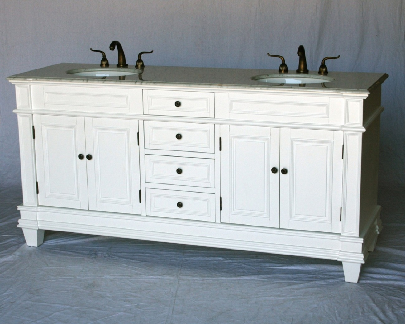 72 inch Double Sink Transitional Bathroom Vanity White
