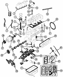 Jeep CJ Parts, Willys Jeep F-134 Engine Parts, 4 Cylinder