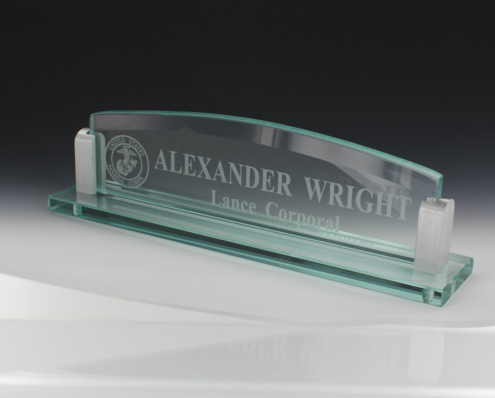 10 Inch Glass Desk Name Plate with Silver Aluminum Corners