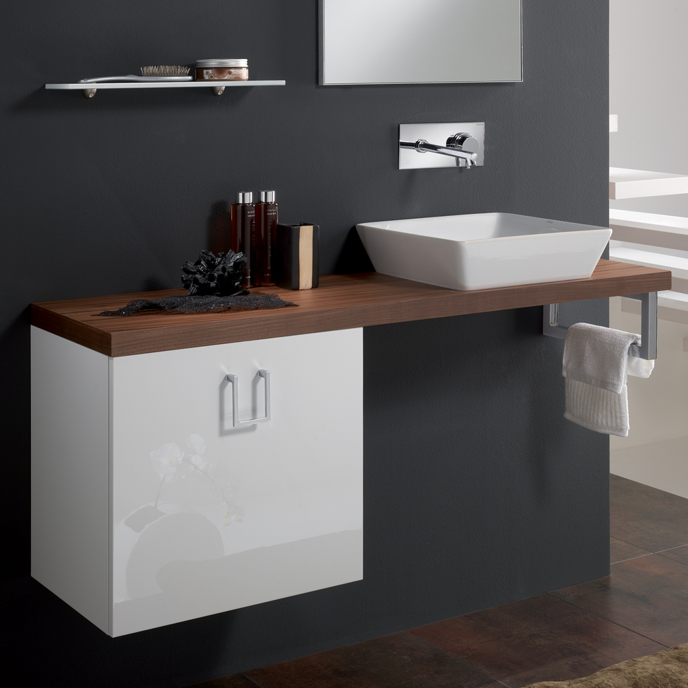 Veneered Walnut High End Bathroom Sink Vanity Stand