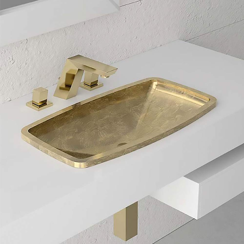 Rectangular Dropin Bathroom Sink  Gold Leaf