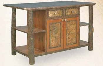 hickory kitchen island washable rug old with birch bark accents