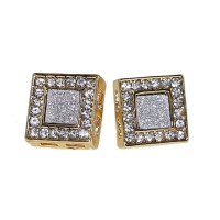 Square Gold Earrings 12MM - Earrings