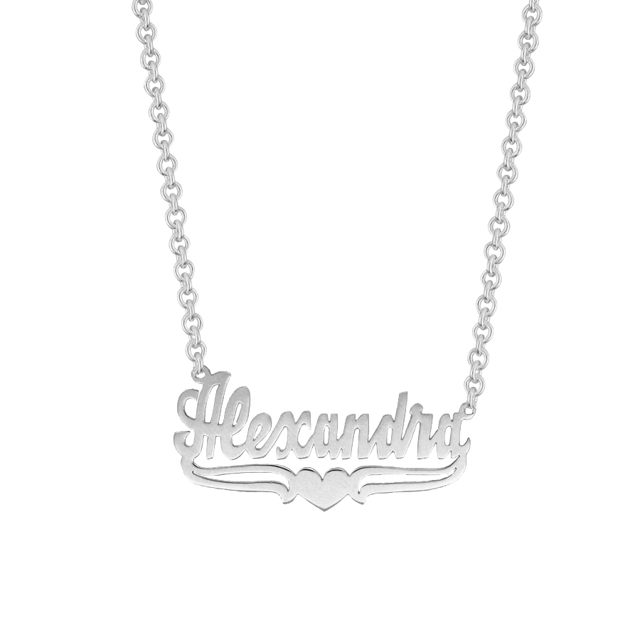 Name Necklace w/ Lower Tails & Heart