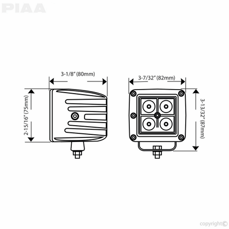 PIAA Quad Series Spot Beam LED Cube Lights w/ Harness