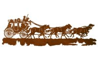 "42"" Stagecoach with Horses Metal Wall Art - Western Wall Decor"