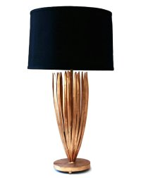 Antique Gold Reed Iron Table Lamp with Black Shade