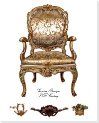 Gold Venetian Baroque Chair Wrapped Canvas Giclee Print
