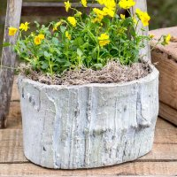 Large Log Cement Planter - Outdoor Decor
