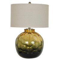 Tuscany Glass Table Lamp with Tan Linen Shade - Lighting