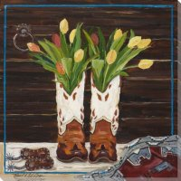 Western Boots Bouquet Wrapped Canvas Giclee Print Wall Art ...