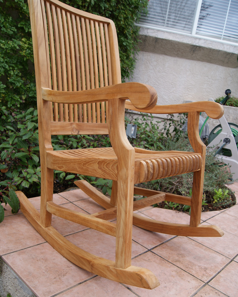 outdoor rocking chairs upholstered dining with arms chair deluxe teak